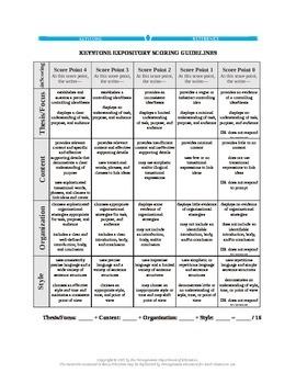Pennsylvania Literature Keystone Expository Rubric in Word Format
