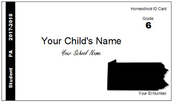 Pennsylvania (PA) Homeschool ID Cards for Teachers and Students