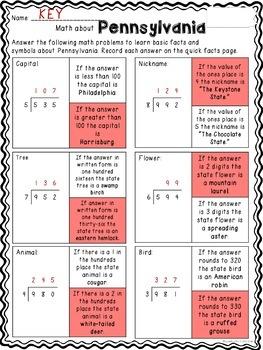Math about Pennsylvania State Symbols through Division Practice