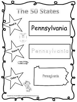 Pennsylvania Read it, Trace it, Color it Learn the States preschool worksheeet.
