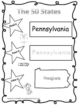 Pennsylvania Read it, Trace it, Color it Learn the States