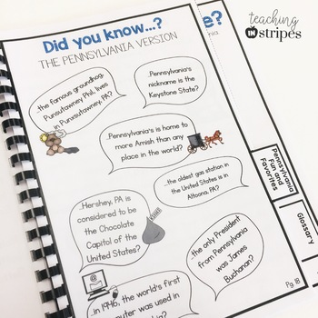 Pennsylvania Reading Passage Packet and Comprehension Printables