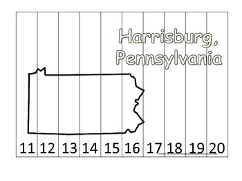 Pennsylvania State Capitol Number Sequence Puzzle 11-20.  Geography and Numbers.