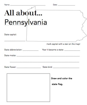 Pennsylvania State Facts Worksheet: Elementary Version