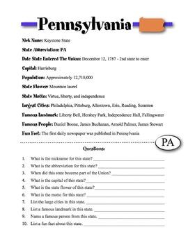 Pennsylvania State Information & Worksheet