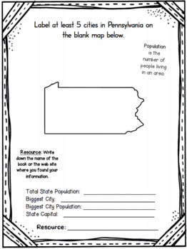 Pennsylvania State Research Report Project Template with timeline Craftivity PA
