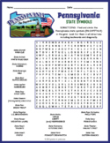 PENNSYLVANIA State Symbols Word Search Puzzle Worksheet Activity