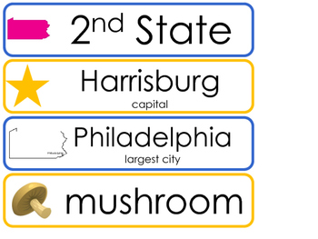 Pennsylvania State Word Wall Bulletin Board Set. Geography Curriculum.