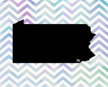 FREEBIE! Pennsylvania Chevron State Map Class Decor, Classroom Decoration