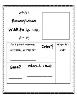 Pennsylvania Wildlife Writing Activity