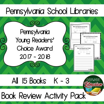Pennsylvania Young Reader's Choice Award 2017 - 2018 Book Review Activity Pack