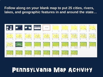 Pennsylvania (state) Map Activity- fun, engaging, follow-along 20-slide PPT