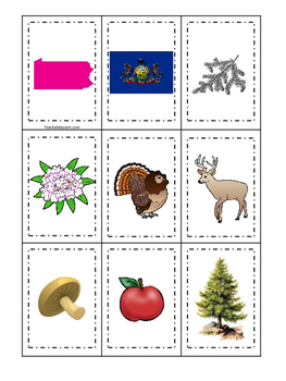 Pennsylvania themed Memory Matching and Word Matching preschool curriculum  game
