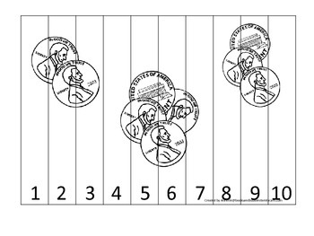 Penny Coin 1-10 Number Sequence Puzzle. Financial education for preschool child