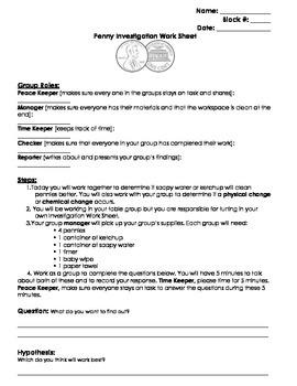 Penny Experiment Sheet