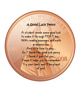 Penny FCAT Encouragement Poem