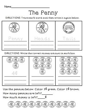 money penny review practice worksheet by the mcgrew crew tpt. Black Bedroom Furniture Sets. Home Design Ideas