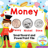 Money Penny Nickel Dime Powerpoint and Smartboard Bundle