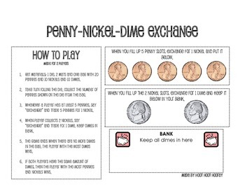 Penny-Nickel-Dime Exchange by Hoot Hoot Hooray | TpT