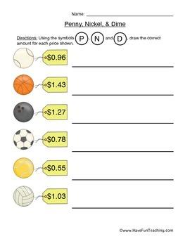 Penny, Nickel, Dime Money Worksheet