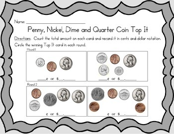 Penny, Nickel, Dime and Quarter Coin Top It