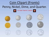 Coin Penny, Nickel, Dime, and Quarter (Fronts)- Money Clipart