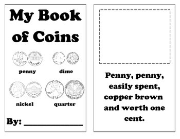 Penny, Nickel, Quarter, and Dime Coin Book with Rhymes