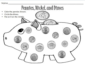 Penny, Nickel, and Dime Coin Identification Worksheet