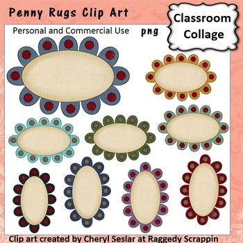 Penny Rug Frames or Labels Clip Art Color pers & comm use C Seslar