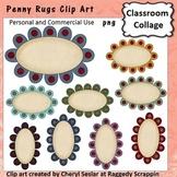 Penny Rug Frames or Labels Clip Art Color pers & comm use C Seslar