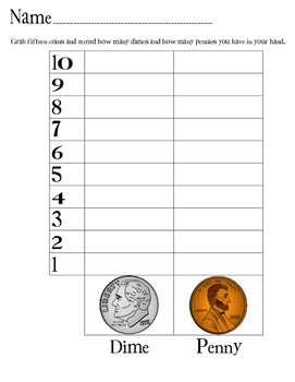 Penny and Dime Grab and Graph