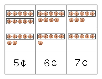Penny and Nickel Compare Game -Counting and Comparing Coin Values up to 10 Cents