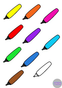 Pens Back to School Stationary Clip Art - 3 Styles in 10 Different Colors