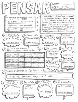 Pensar Spanish verb doodle conjugation translation no prep printable
