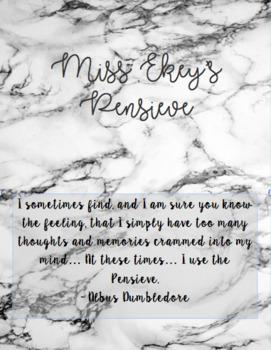 Pensieve Cover - Albus Dumbledore quote, Marble, Black and White