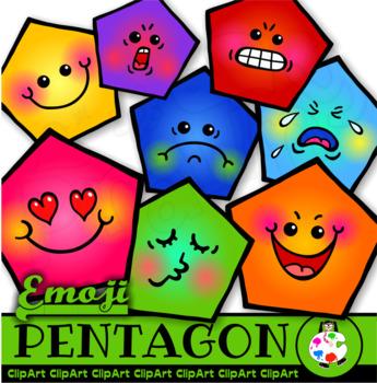 Pentagon Emoticons - Clip Art Geometry Shapes