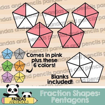 Pentagon Fractions Clip Art (Thick Lines)