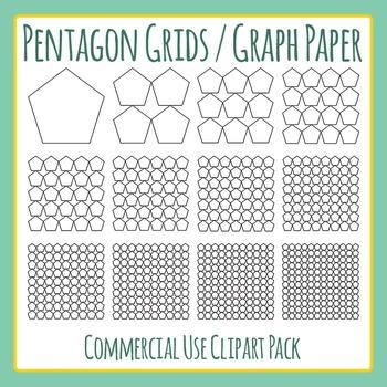 Pentagon Grids / Graph Paper Clip Art for Commercial Use