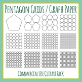 Pentagon Grids / Graph Paper Clip Art for Commercial Use