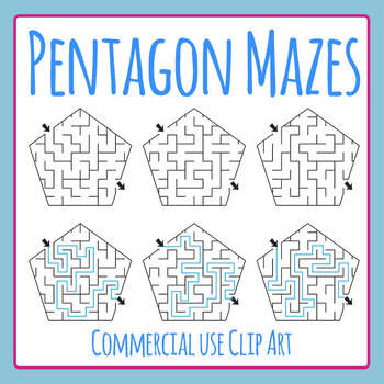Pentagon Mazes Clip Art Set for Commercial Use