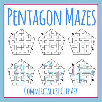 Pentagon Mazes Clip Art Set for Commercial Use