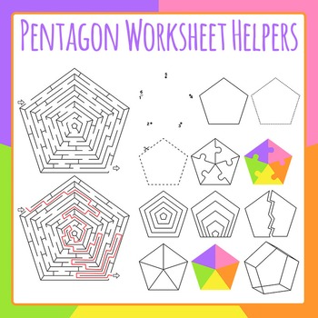 Pentagon Worksheet Helpers Clip Art Set for Commercial Use