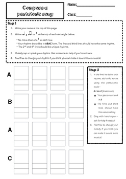 Pentatonic Composition Task with Assessment Rubric