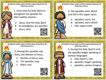 Pentecost Scoot: Three Sets of ELA Task Cards with QR Codes