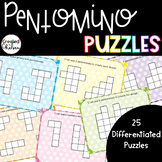 Pentomino Puzzles {25 Differentiated Puzzles in Color and Black & White}