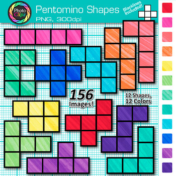 Pentomino Shapes Clip Art {Great for Geometry, Area and Perimeter for Math}
