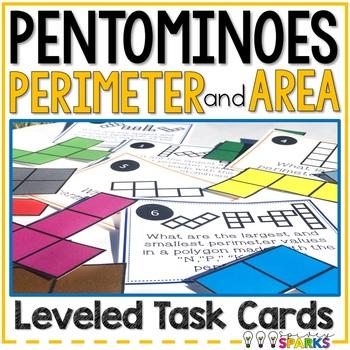 Pentominoes Perimeter & Area Task Cards {Differentiated}