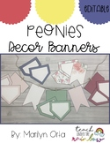 Peonies Decor Banners (Editable)