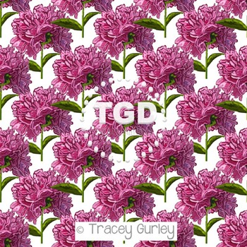 Peony Pattern Repeat on White digital paper Printable Tracey Gurley Designs