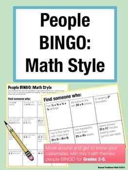 First Day of School Activity - People BINGO: Math Style (Grades 2-5)
